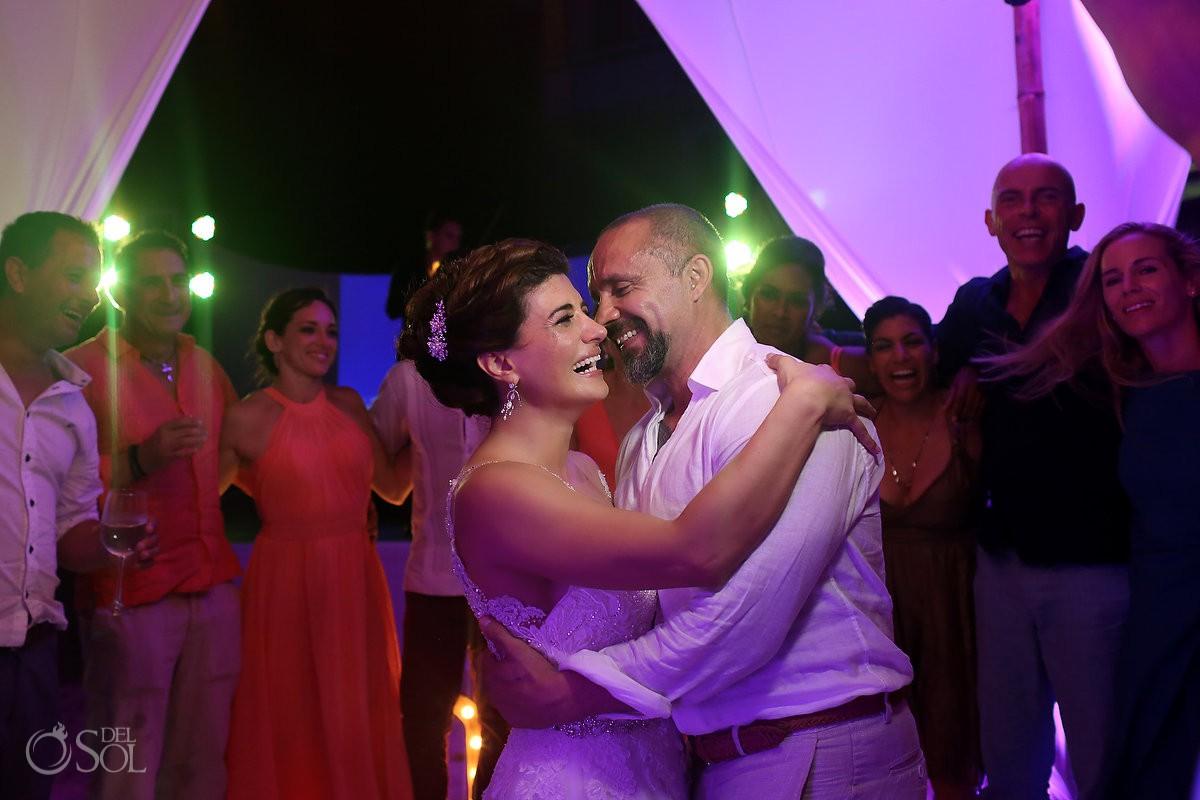 Party time wedding reception Casa Corazon Playa del Carmen, Mexico.