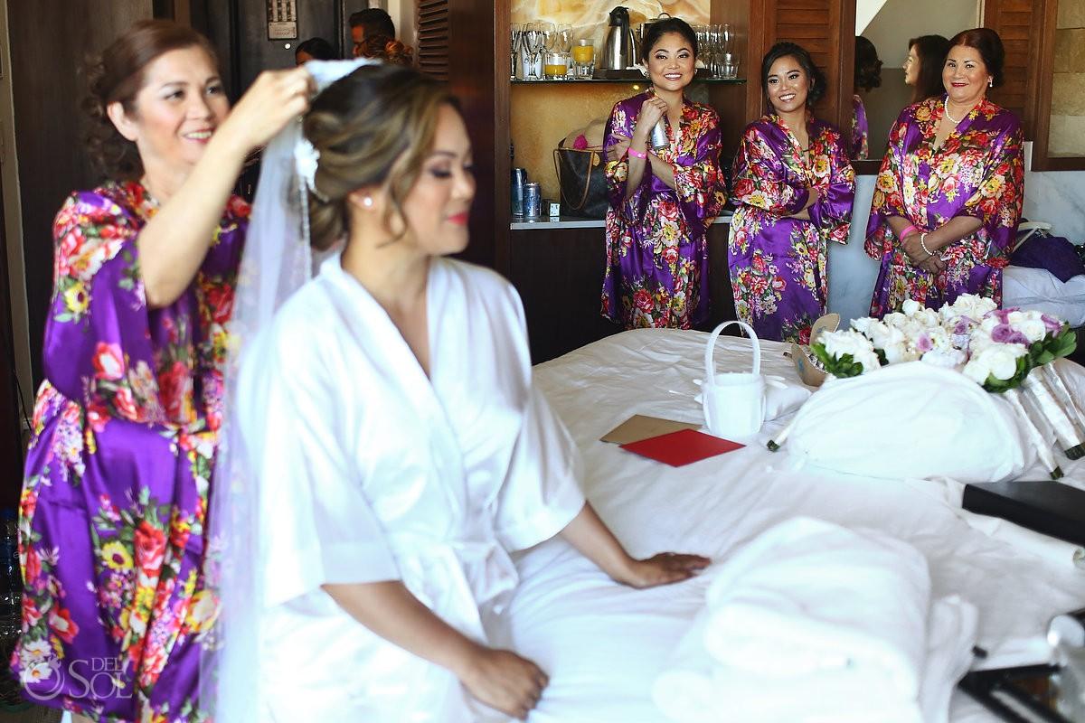 Bride getting ready Wedding Hard Rock Hotel Riviera Maya Mexico