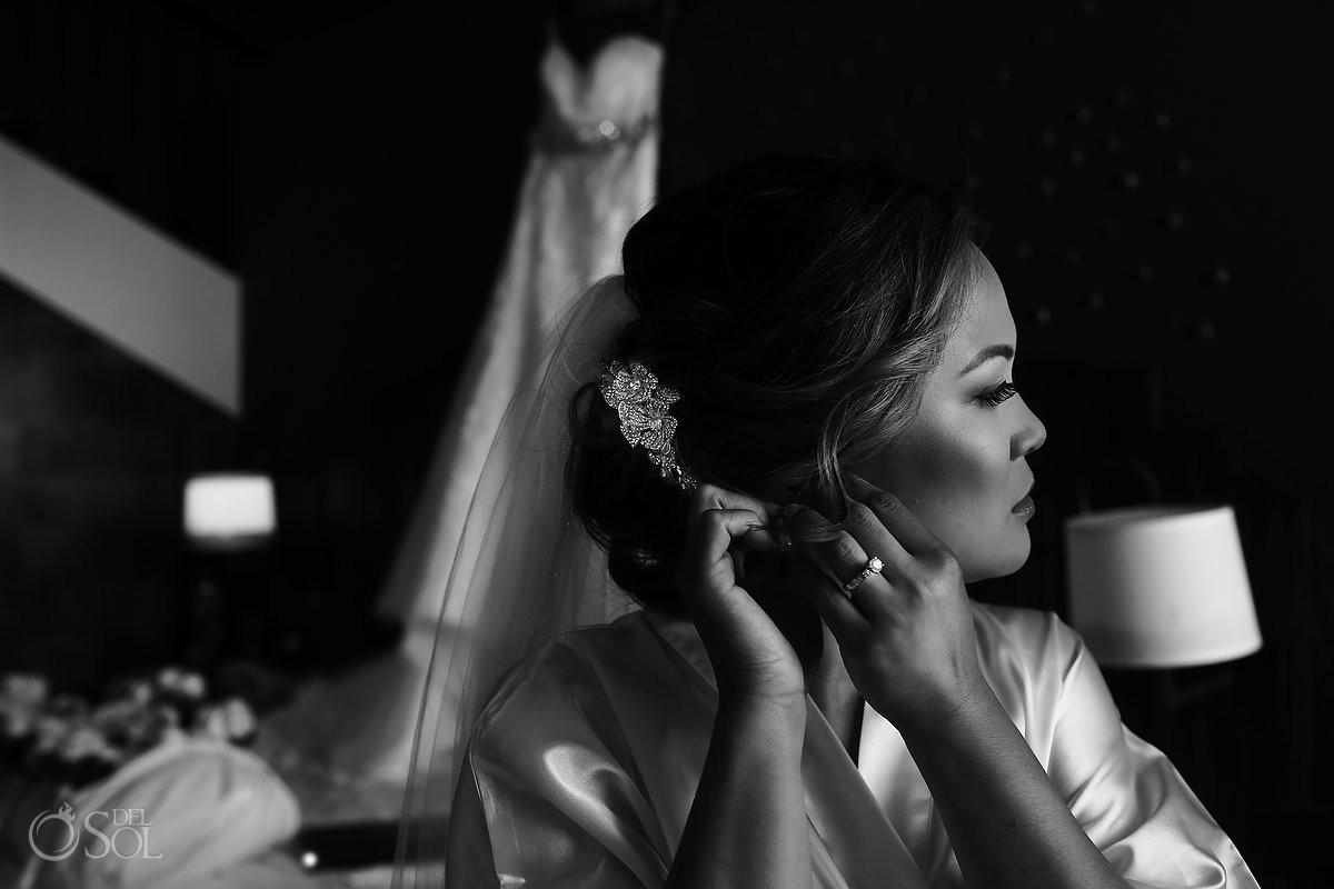 Black and white bride portrait getting ready Wedding Hard Rock Hotel Riviera Maya Mexico