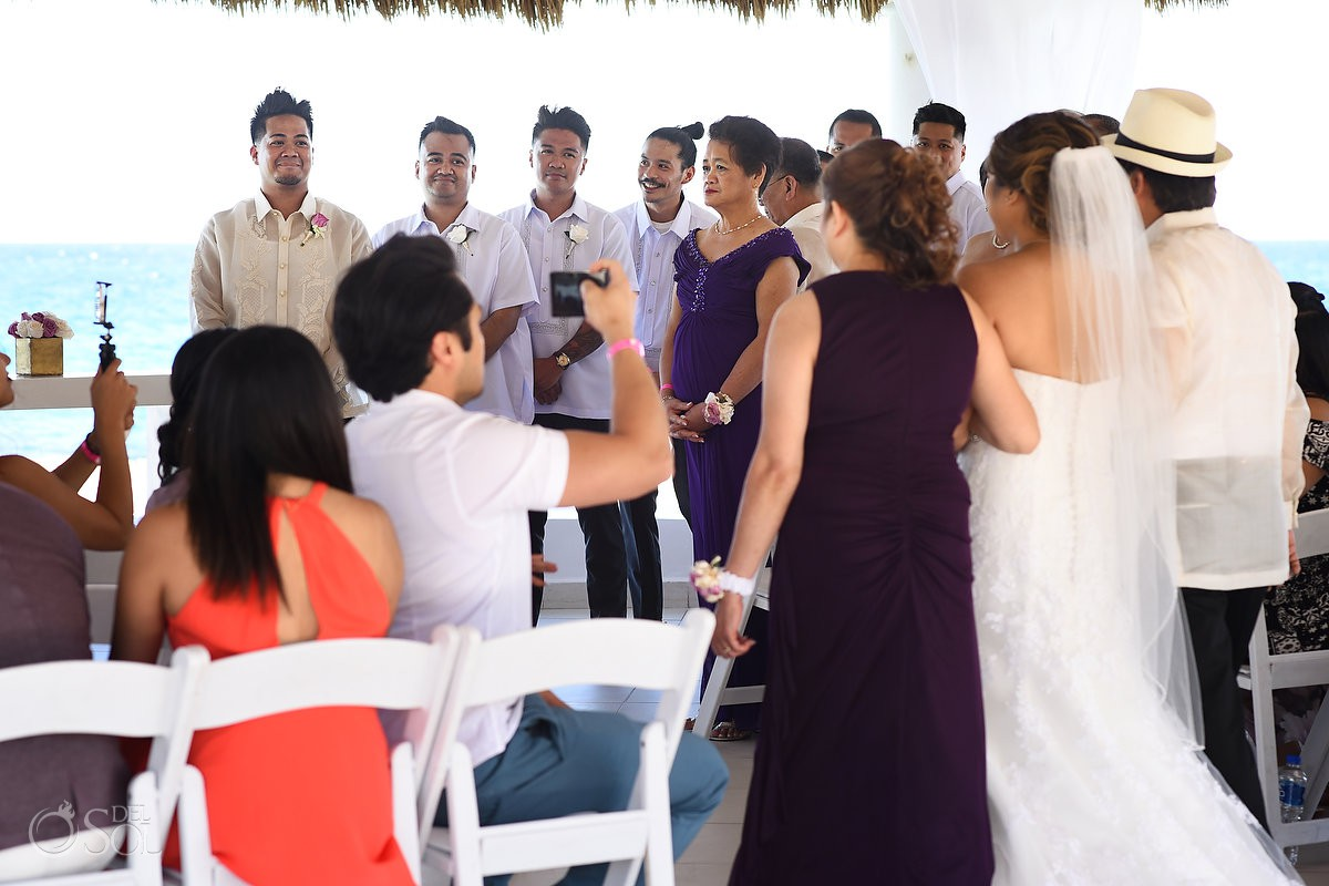 Bride and Groom First look Wedding Hard Rock Hotel Riviera Maya Mexico
