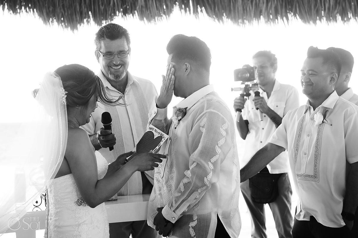 Hard Rock Riviera Maya Gazebo Wedding groom wiping tears reading vows
