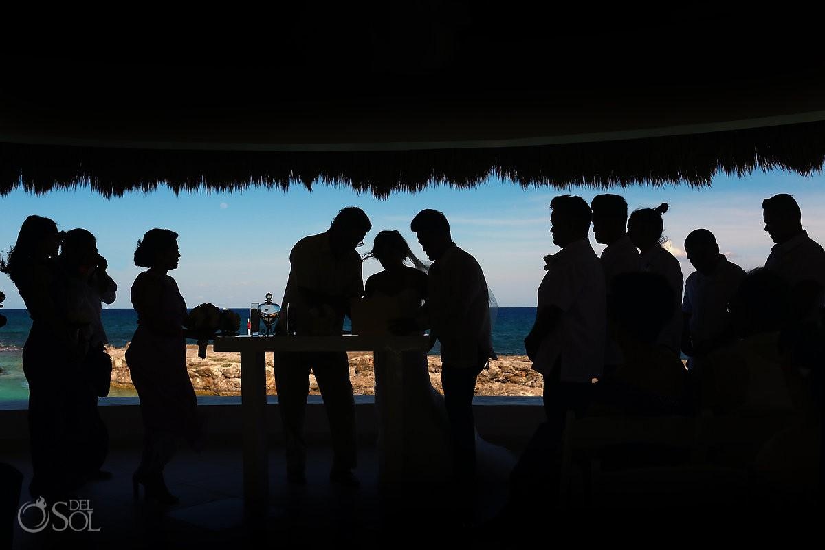 Creative wedding ceremony silhouette Hard Rock Riviera Maya Gazebo Wedding