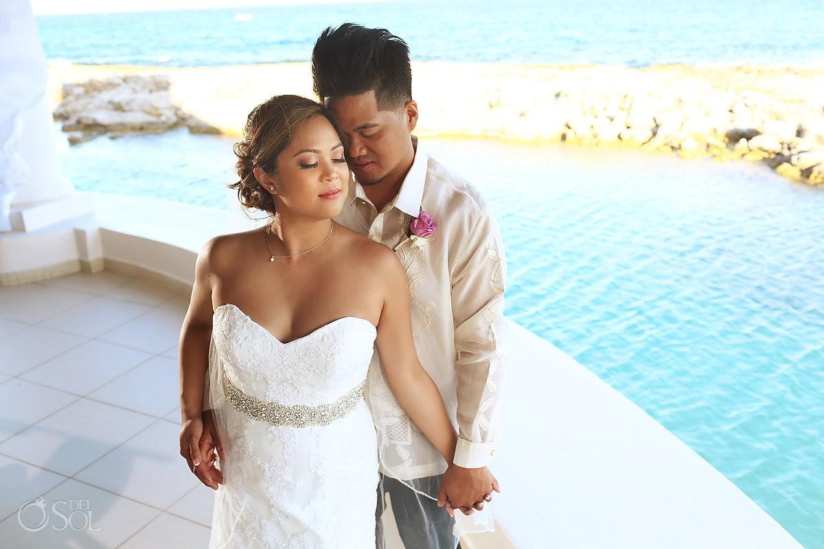 Bride and groom portrait beach destination Wedding Hard Rock Hotel Riviera Maya Mexico