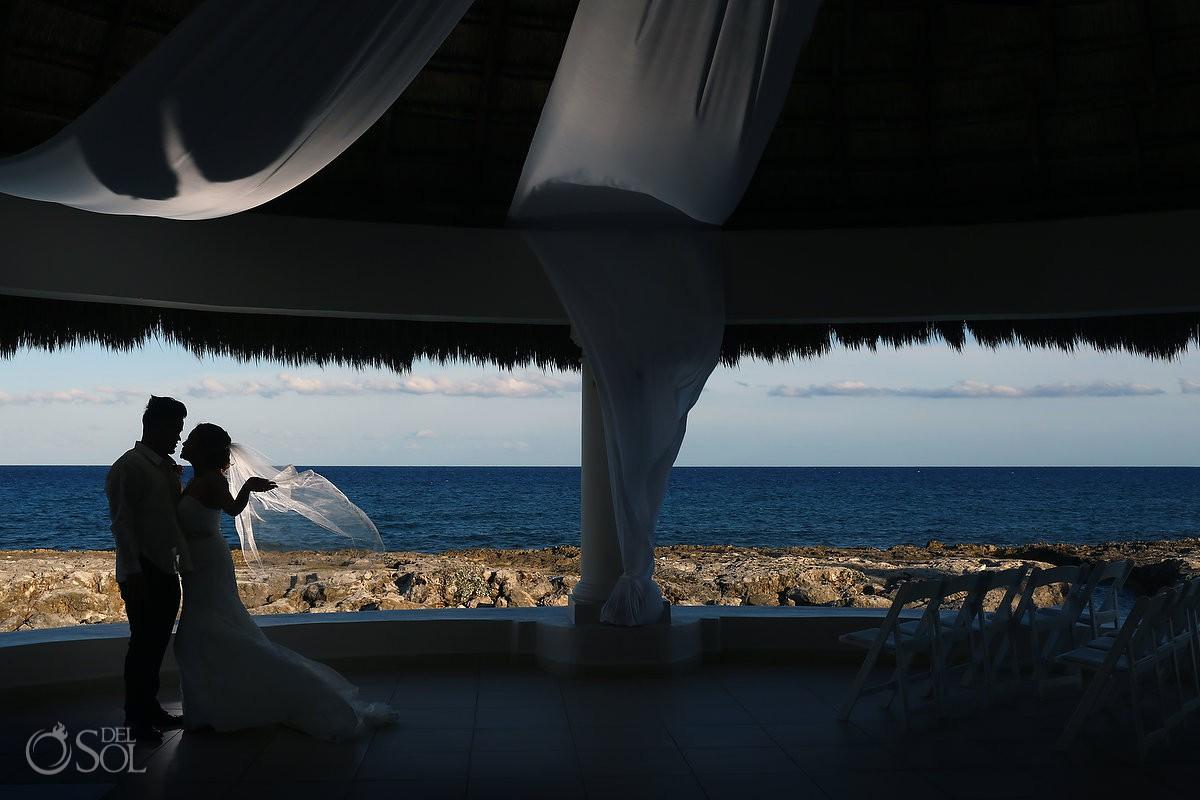 Bride and groom creative silhouette destination wedding Hard Rock Hotel Riviera Maya Mexico