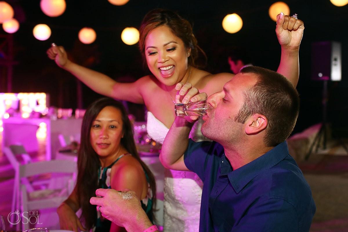 Party time bride celebrating Wedding Hard Rock Hotel Riviera Maya Mexico