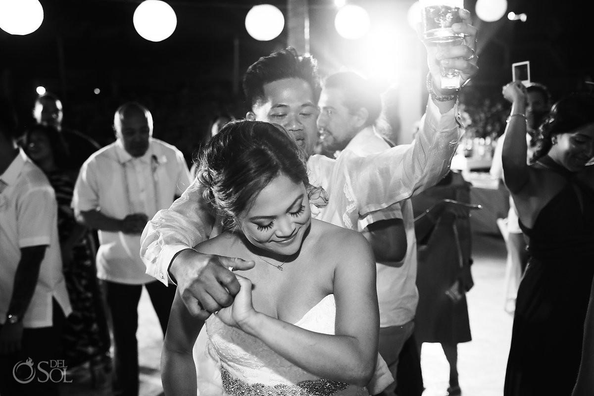 Bride and groom wedding party time Hard Rock Hotel Riviera Maya Mexico