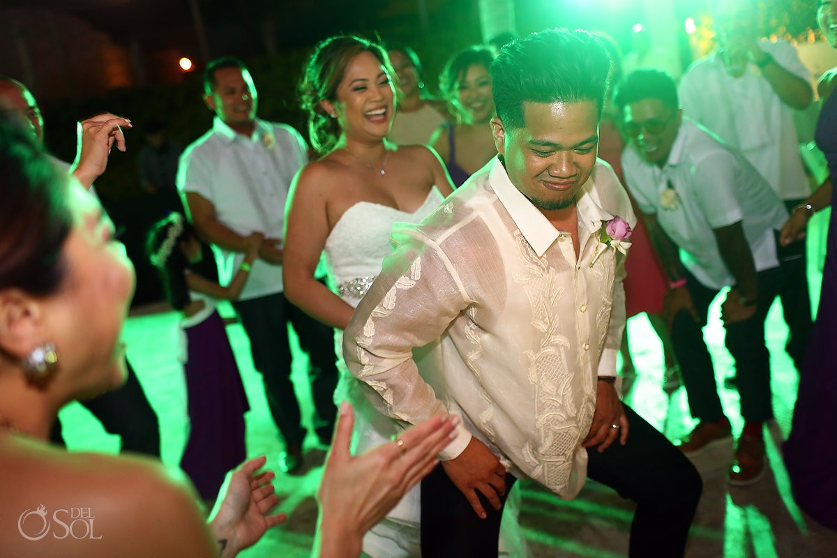 Bride and groom dancing party hard Wedding Hard Rock Hotel Riviera Maya Mexico