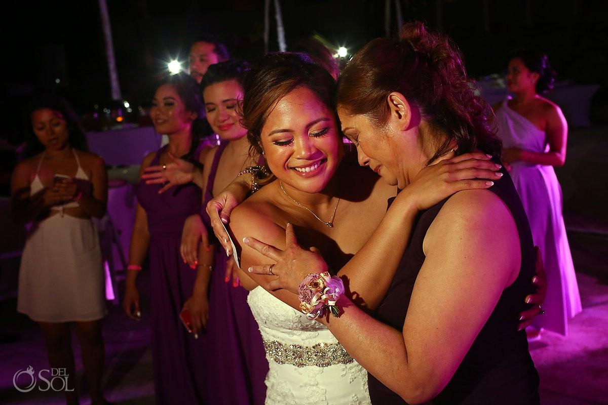 Bride and mom dancing wedding reception Hard Rock Hotel Riviera Maya Mexico