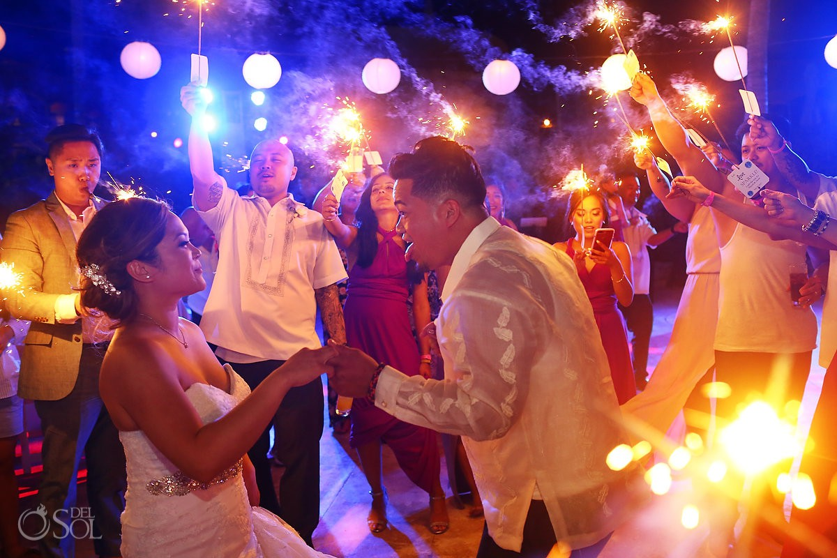 Bride and Groom last dance sparkling of love Wedding Hard Rock Hotel Riviera Maya Mexico