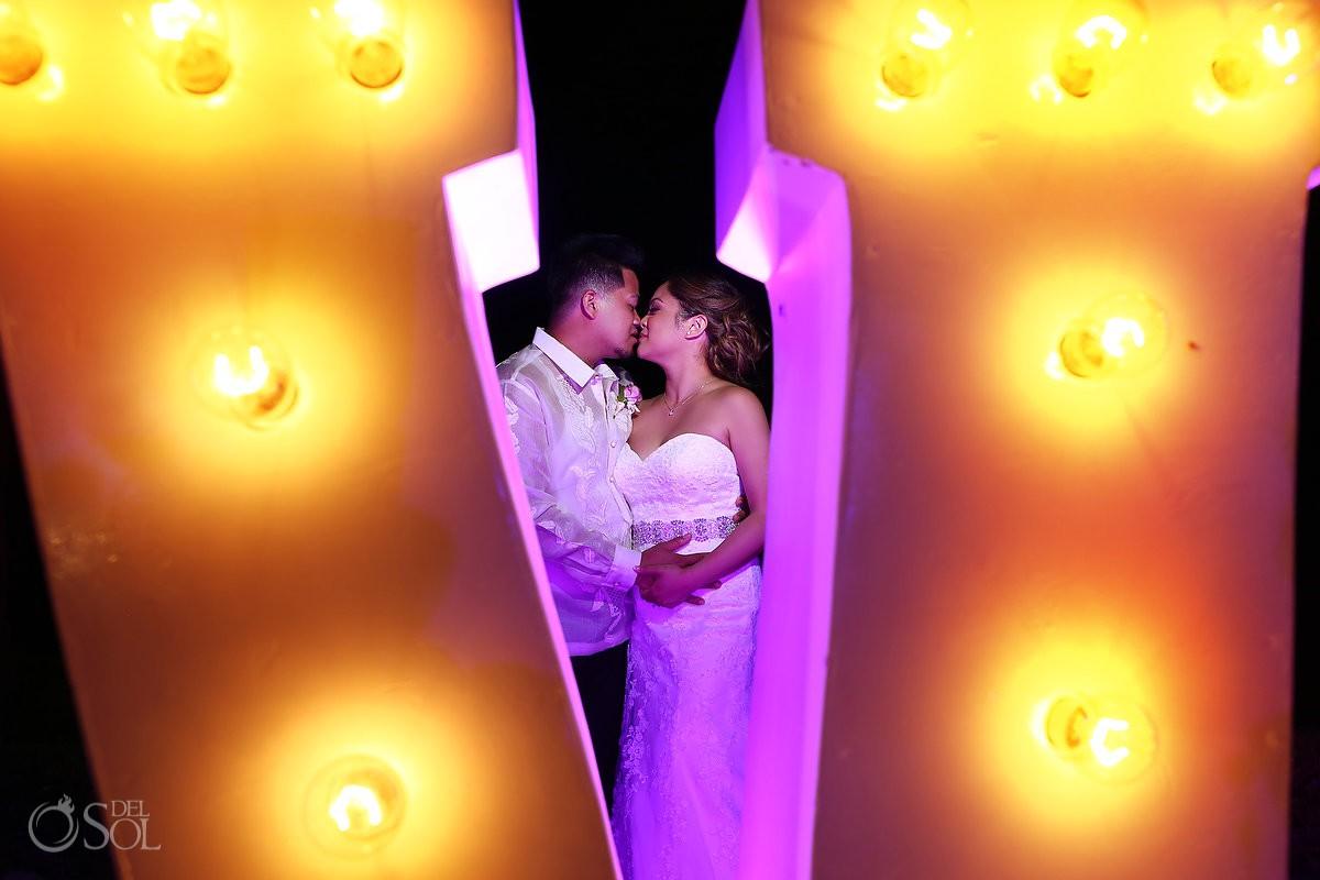 Creative night wedding portrait Hard Rock Hotel Riviera Maya Mexico