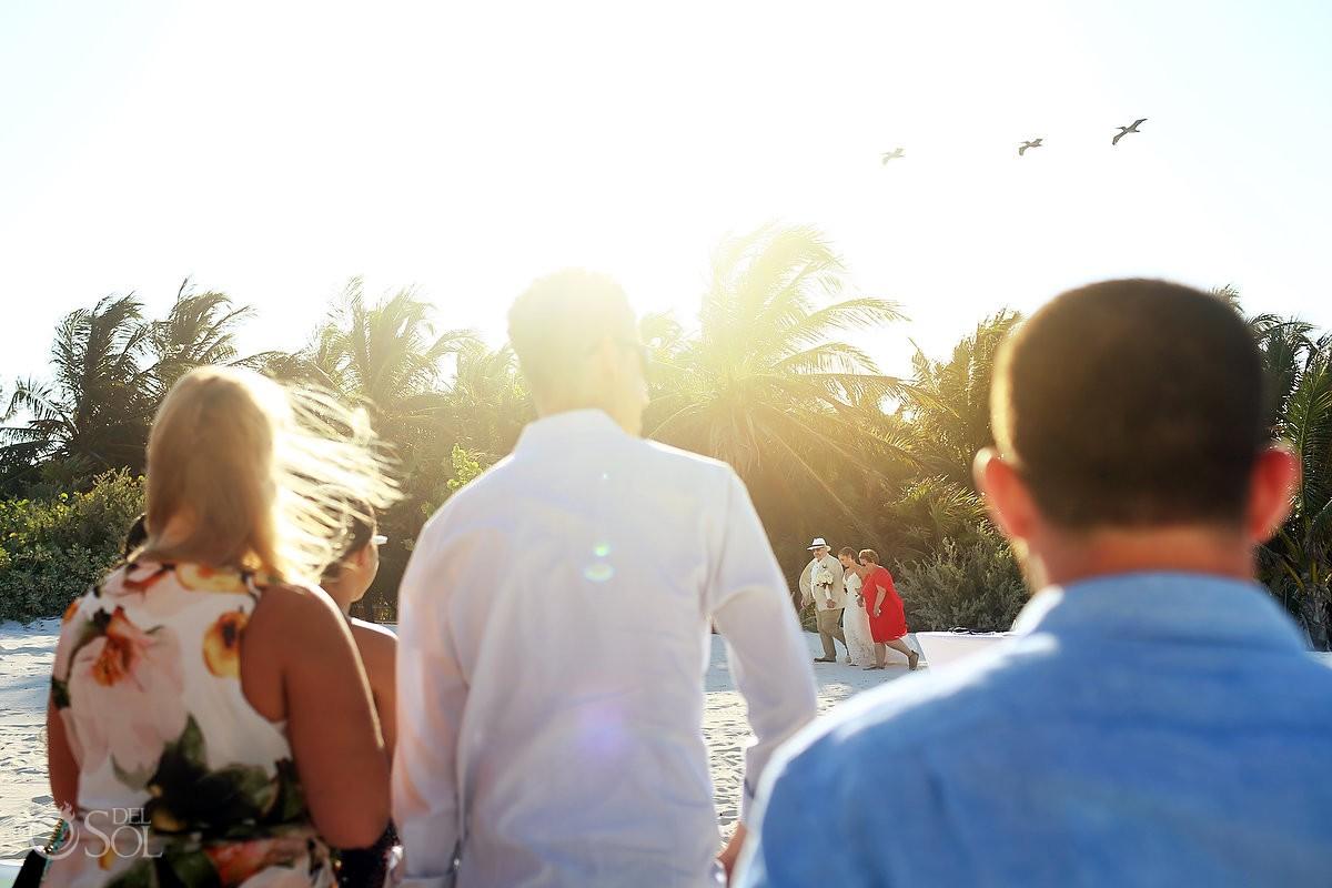 crative flare beutiful bride arriving beach wedding ceremony Secrets Maroma Beach Riviera Cancun
