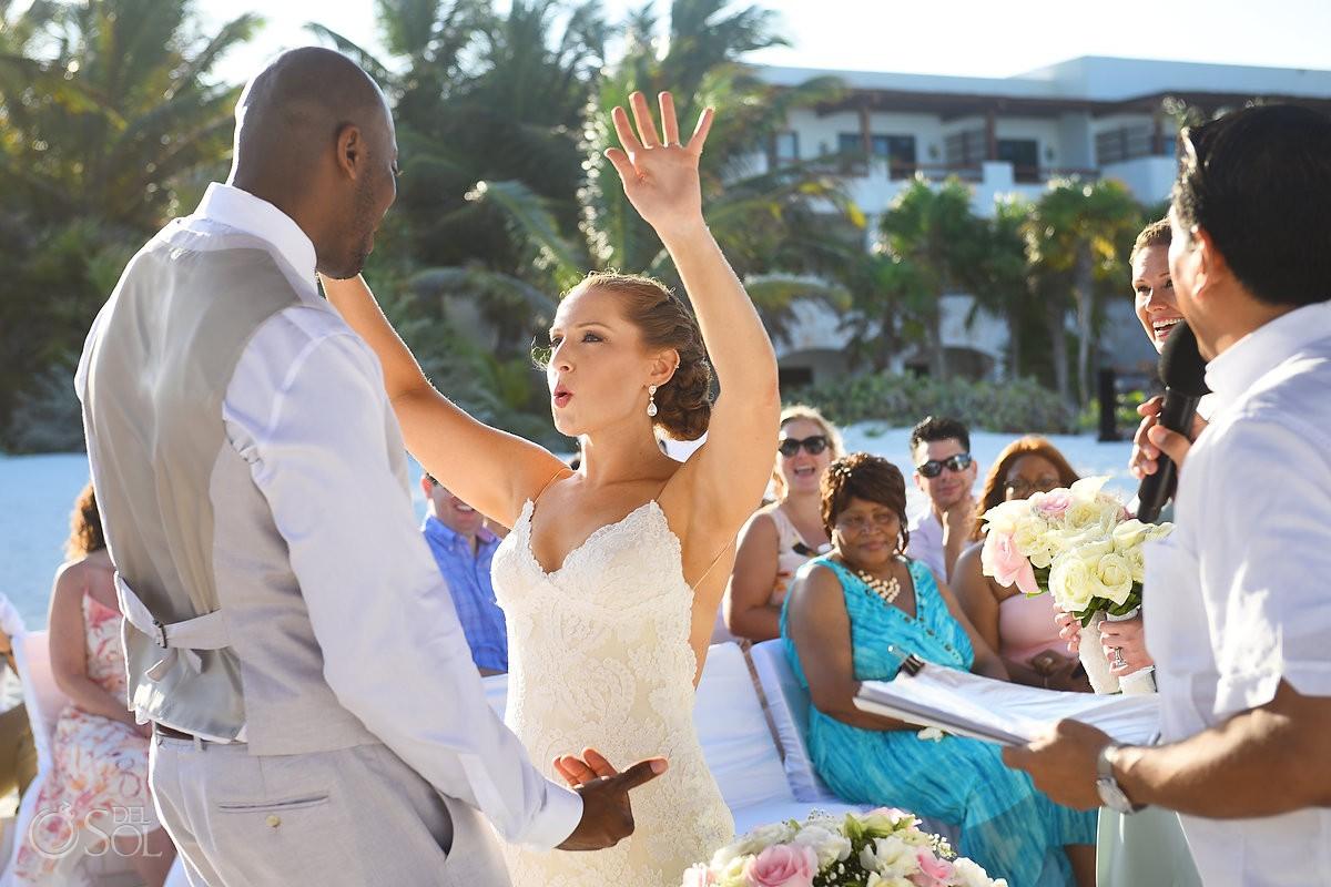 Bride celebration before first kiss Secrets Maroma Beach Riviera Cancun
