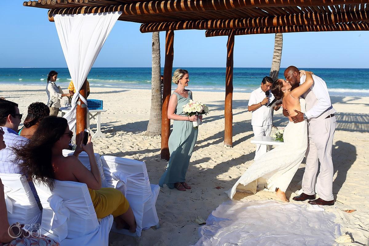 Beach wedding first kiss destination Secrets Maroma Beach Riviera Cancun