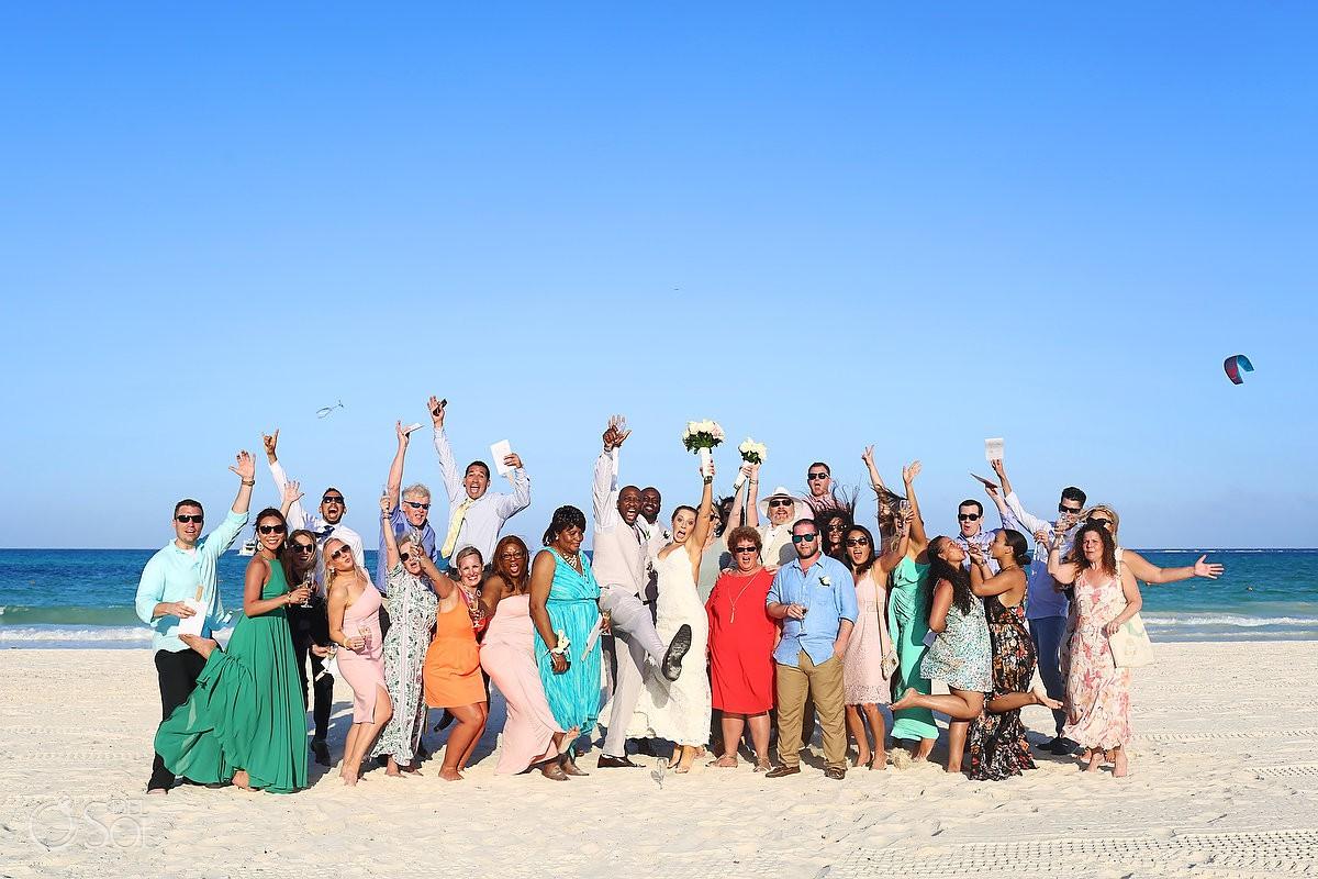 Group picture wedding beach portraits Secrets Maroma Beach Riviera Cancun
