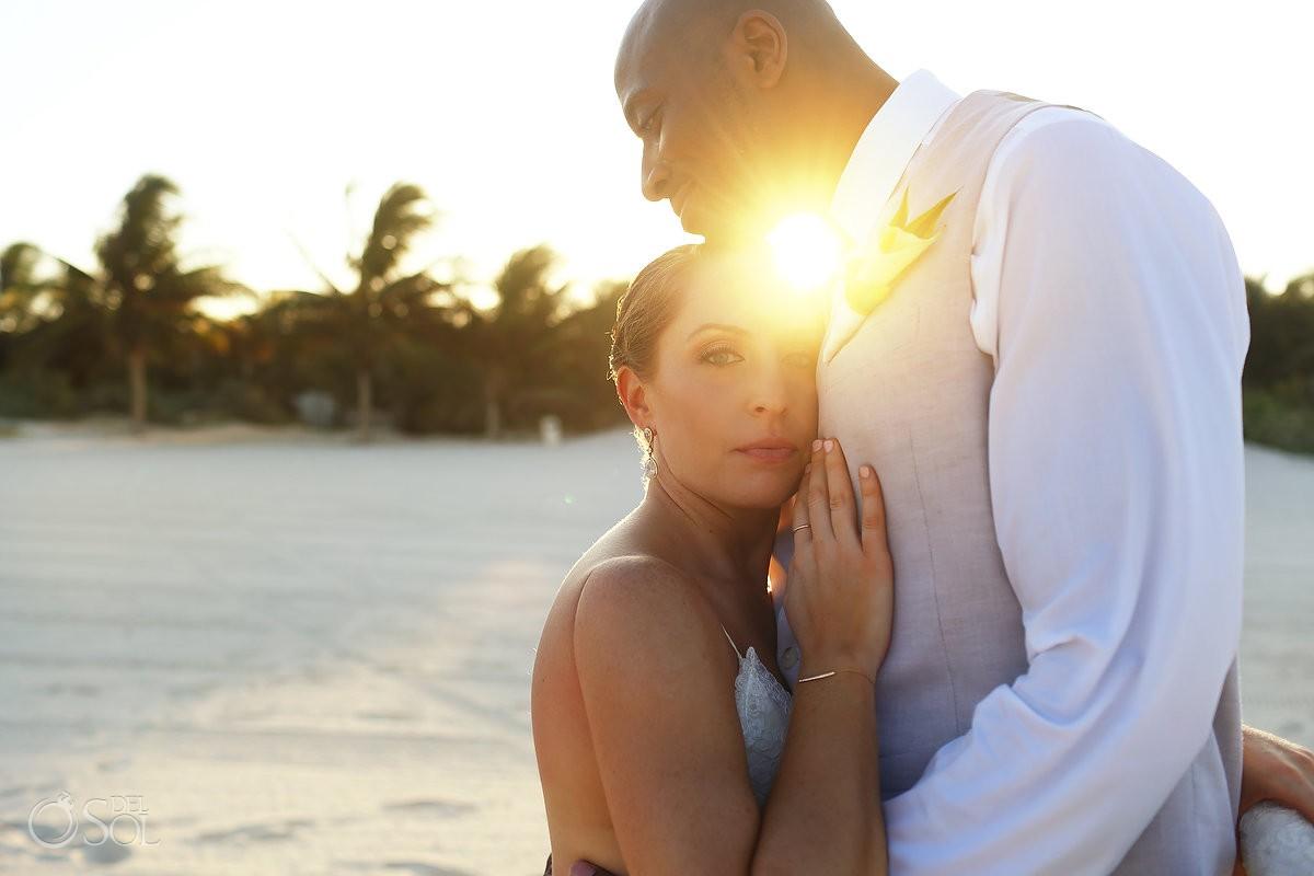 Bride and groom wedding beach portrait Secrets Maroma Beach Riviera Cancun