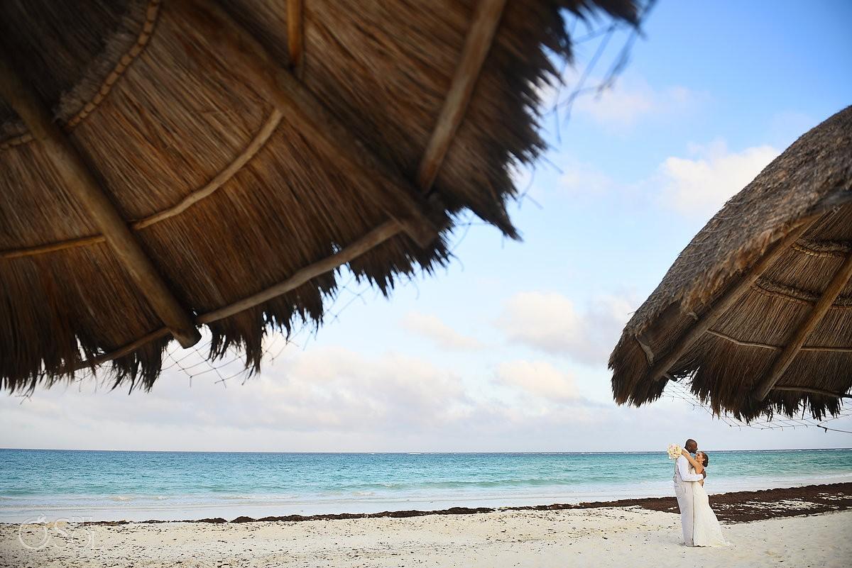 Destination Beach wedding bride and groom portrait Secrets Maroma Beach Riviera Cancun