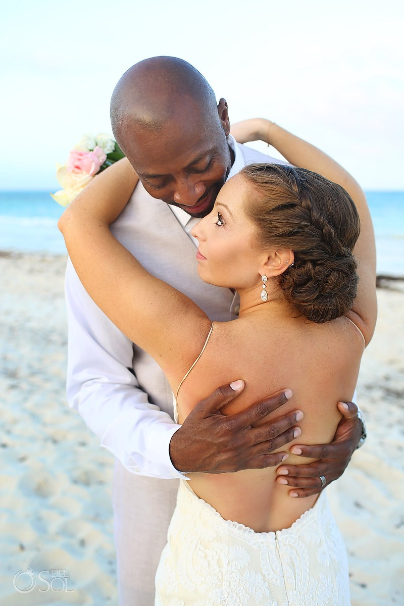 Bride and groom beach portrait Secrets Maroma Beach Riviera Cancun