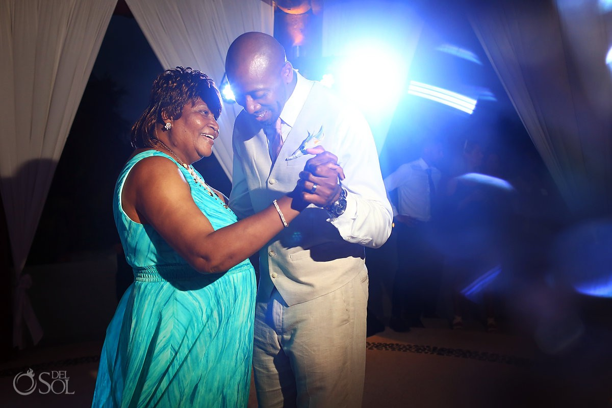 Mother and son first Dance wedding reception Secrets Maroma Beach Riviera Cancun