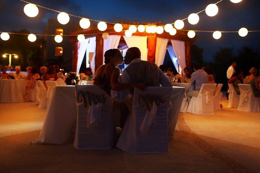 night bride and groom portrait destination wedding Secrets Maroma Beach Riviera Cancun