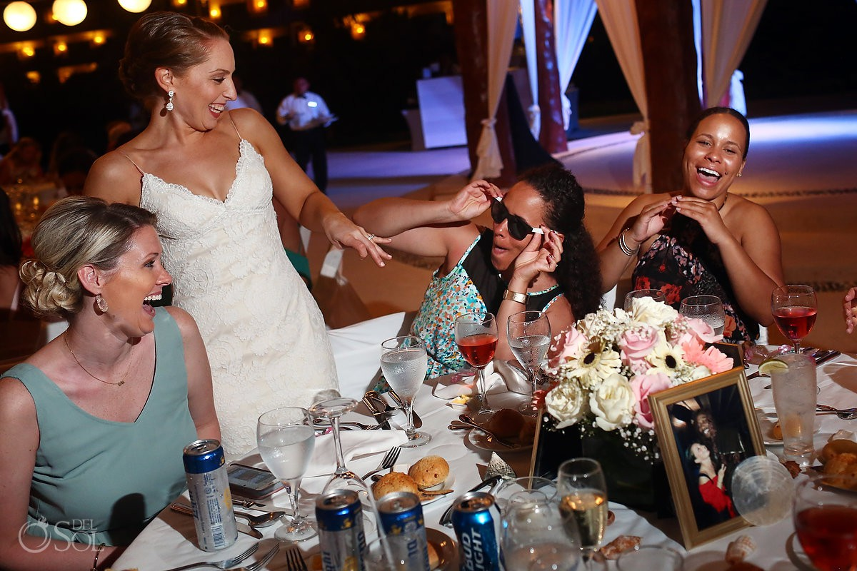 Bride and friends having fun wedding reception moments Secrets Maroma Beach Riviera Cancun