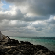 Destination Wedding couple beach portrait Riu Palace Peninsula Cancun Mexico