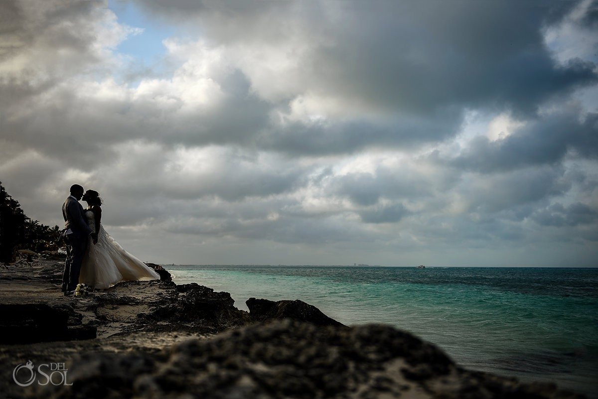 Destination Wedding couple beach portrait Riu Palace Peninsula Cancun Mexico