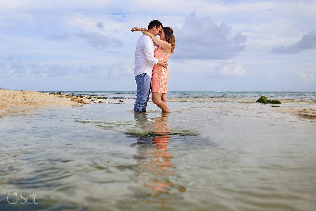 lovely couple beach Proposal Engagement Paradisus Playa del Carmen La Esmeralda Mexico