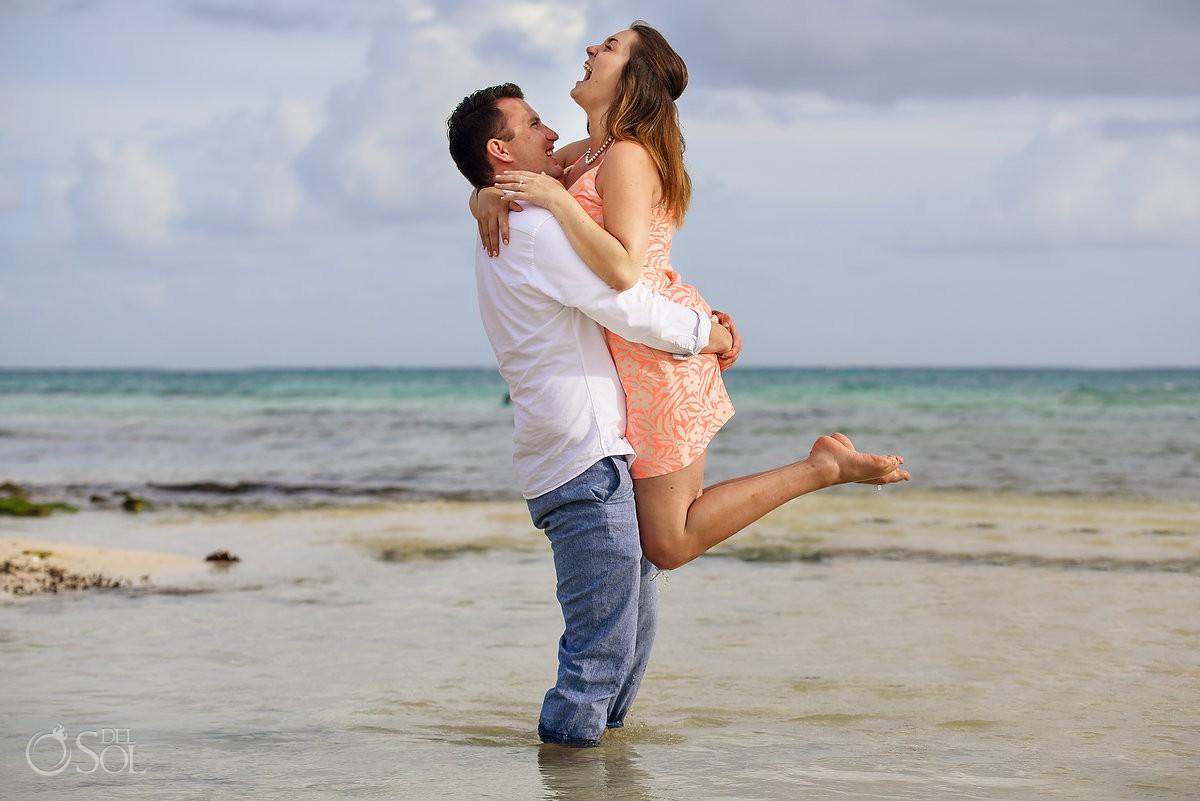 couple having fun after proposal Engagement Paradisus Playa del Carmen La Esmeralda Mexico
