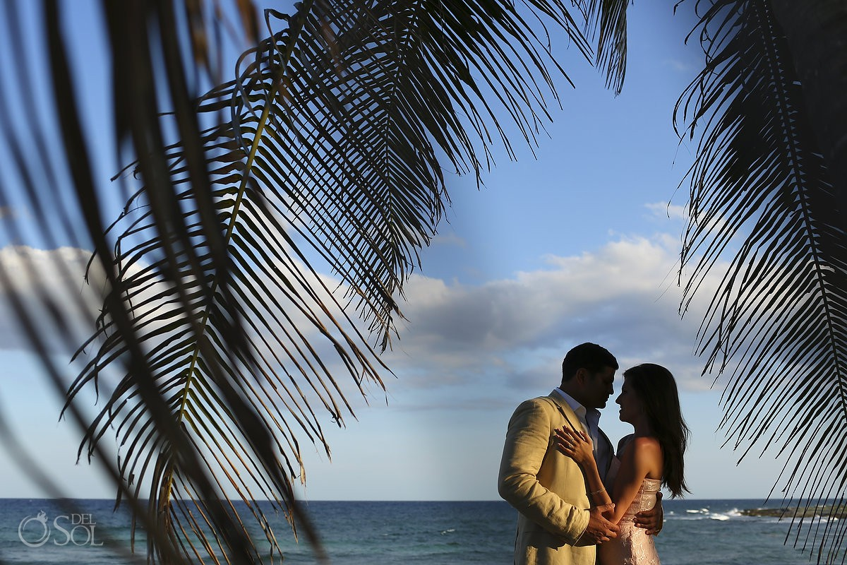 Palm tree silhouette Grand Sirenis Riviera Maya Save the Date Engagement Session