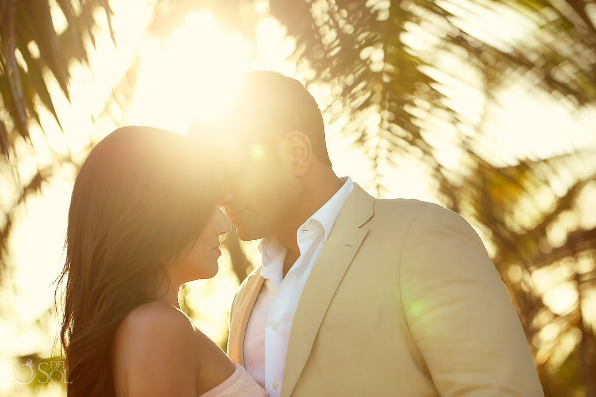 sunset golden hour flare Grand Sirenis Riviera Maya Save the Date Engagement Session