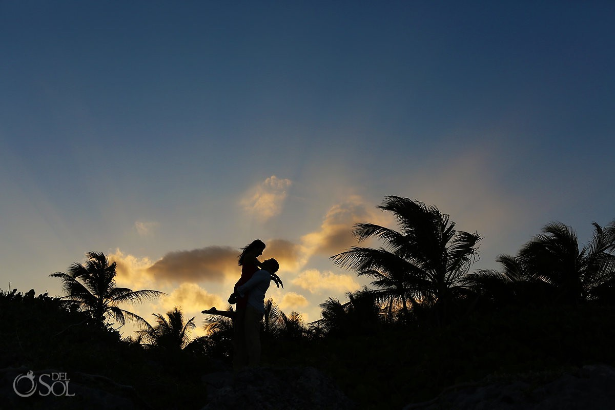 Sunset silhouette Grand Sirenis Riviera Maya Save the Date Engagement Session