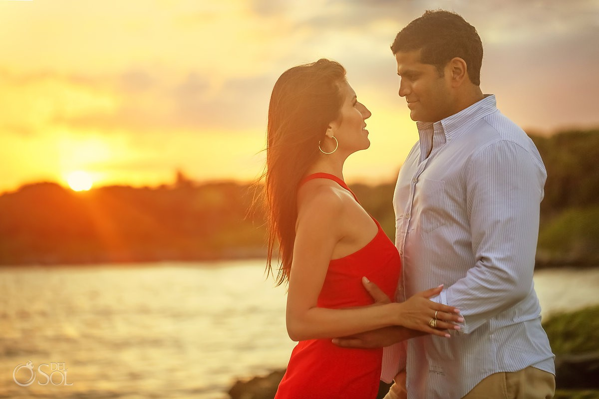 Sunset golden hour Save the Date Engagement Session Grand Sirenis Riviera Maya