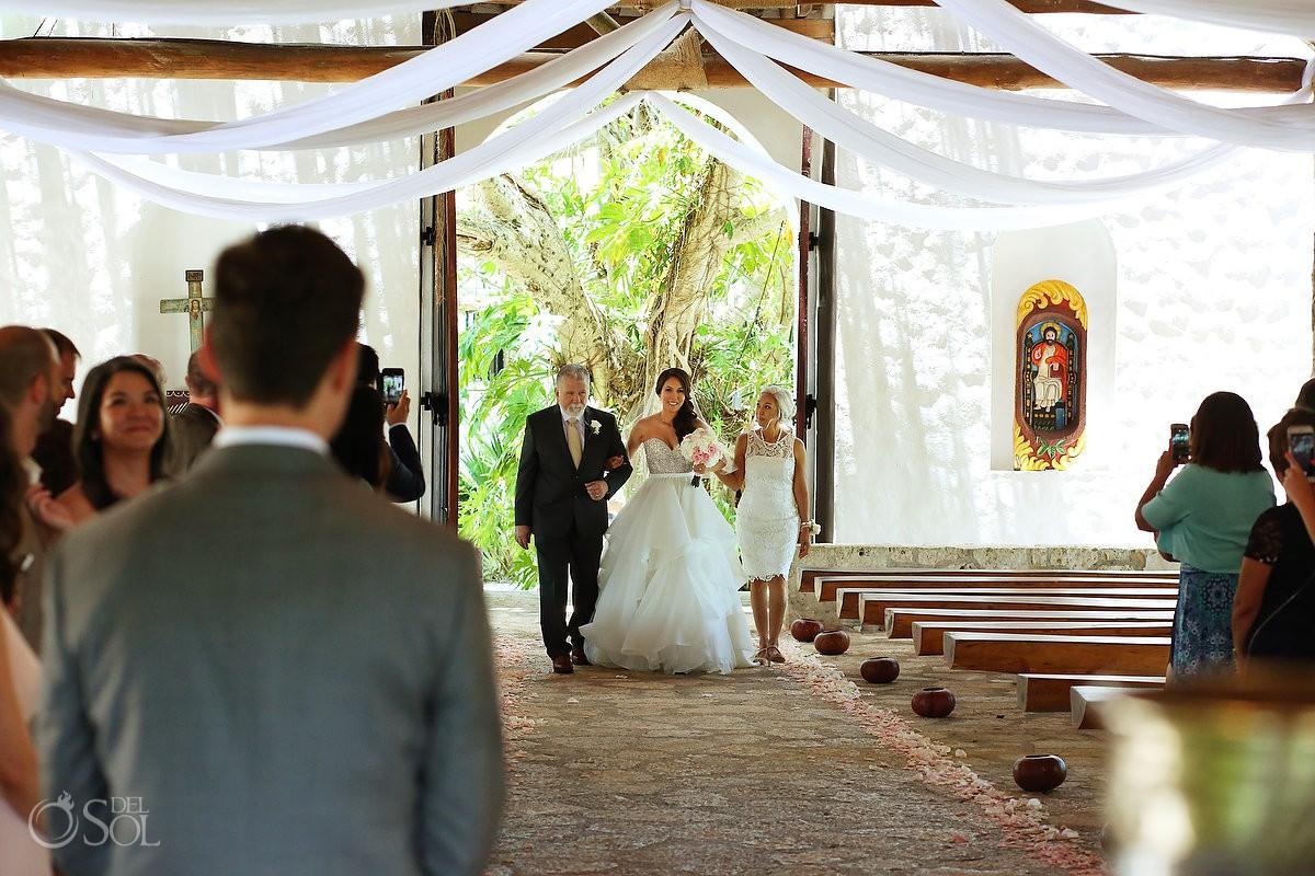 Bride entrance St Francis Assisi Chapel Xcaret