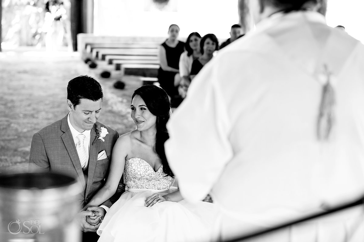 black and white wedding photo St Francis Assisi Chapel Xcaret Playa del Carmen Mexico