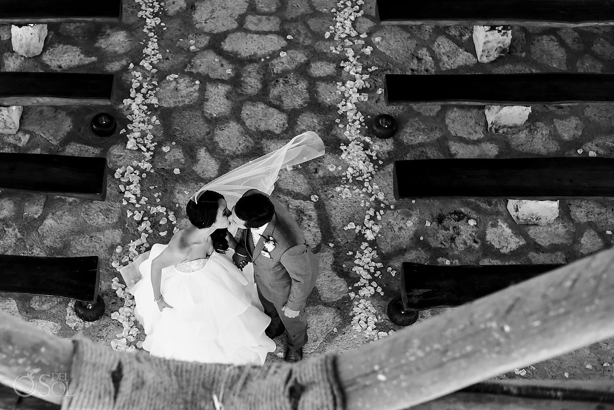 kiss from above St Francis Assisi Chapel Xcaret Playa del Carmen Mexico