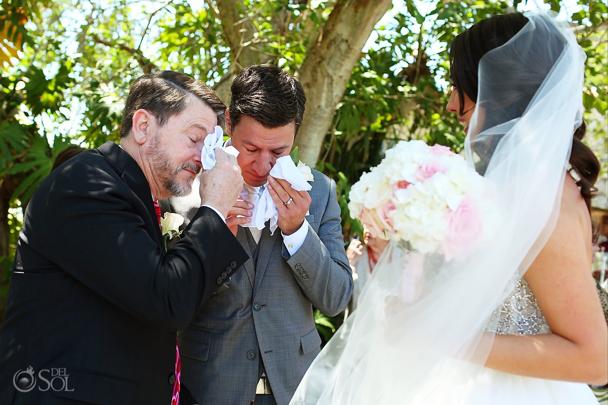 groom crying with emotion St Francis Assisi Chapel Xcaret Playa del Carmen Mexico