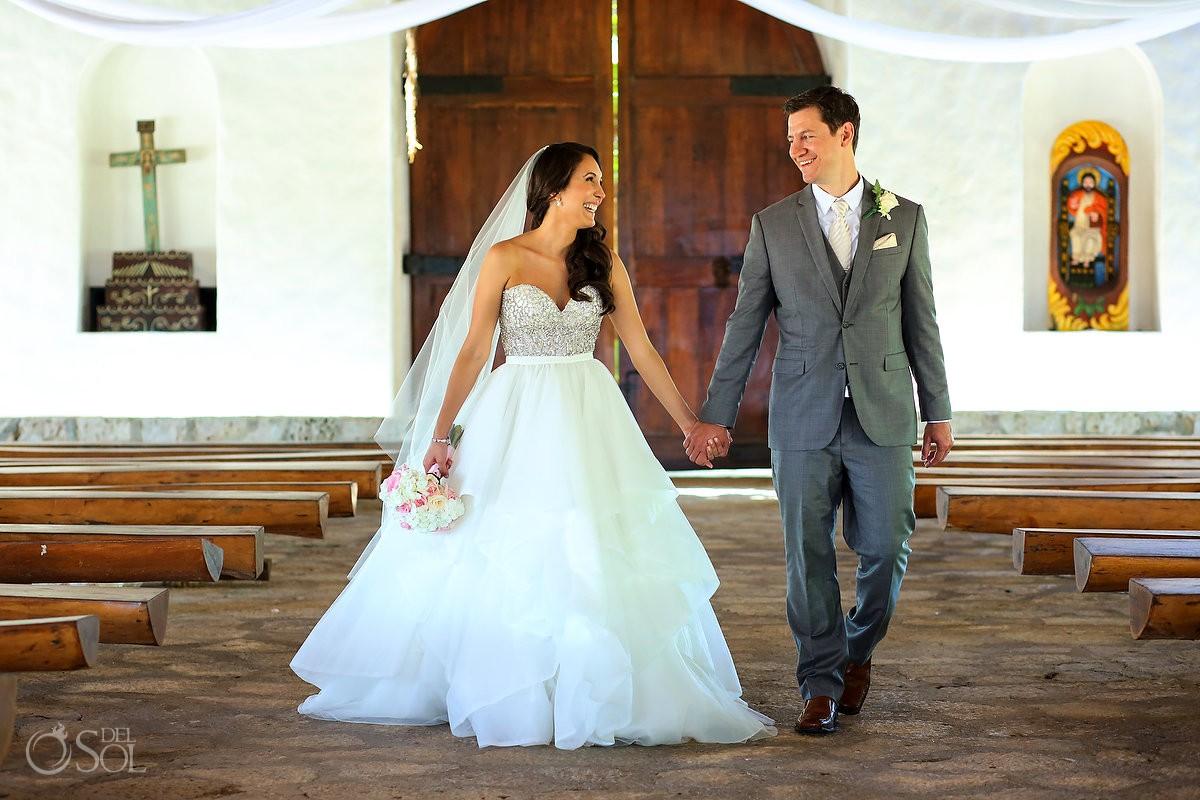 bride and groom destination wedding portrait St Francis Assisi Chapel Xcaret Playa del Carmen Mexico