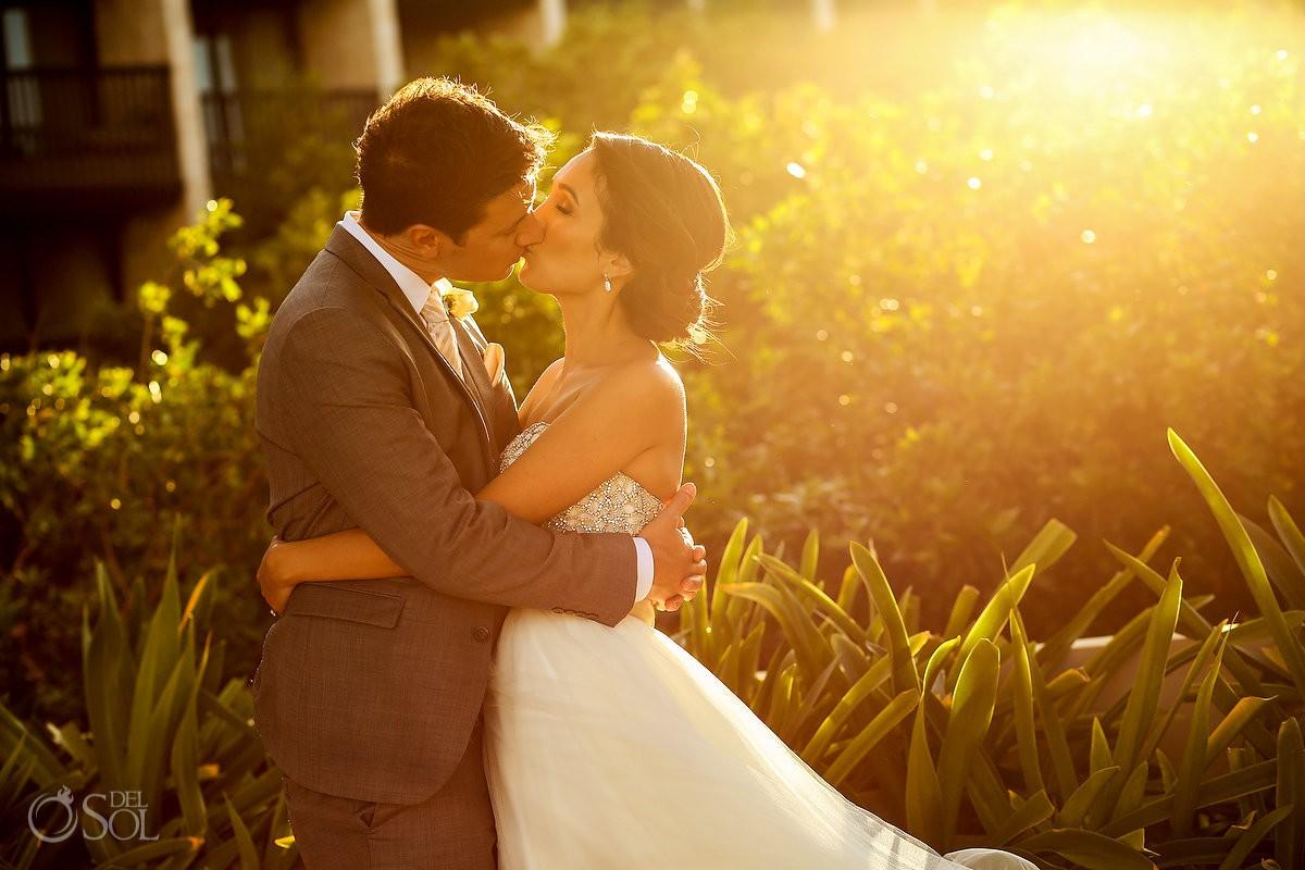 beautiful golden light sunset portrait destination wedding reception Grand Hyatt Playa del Carmen Mexico