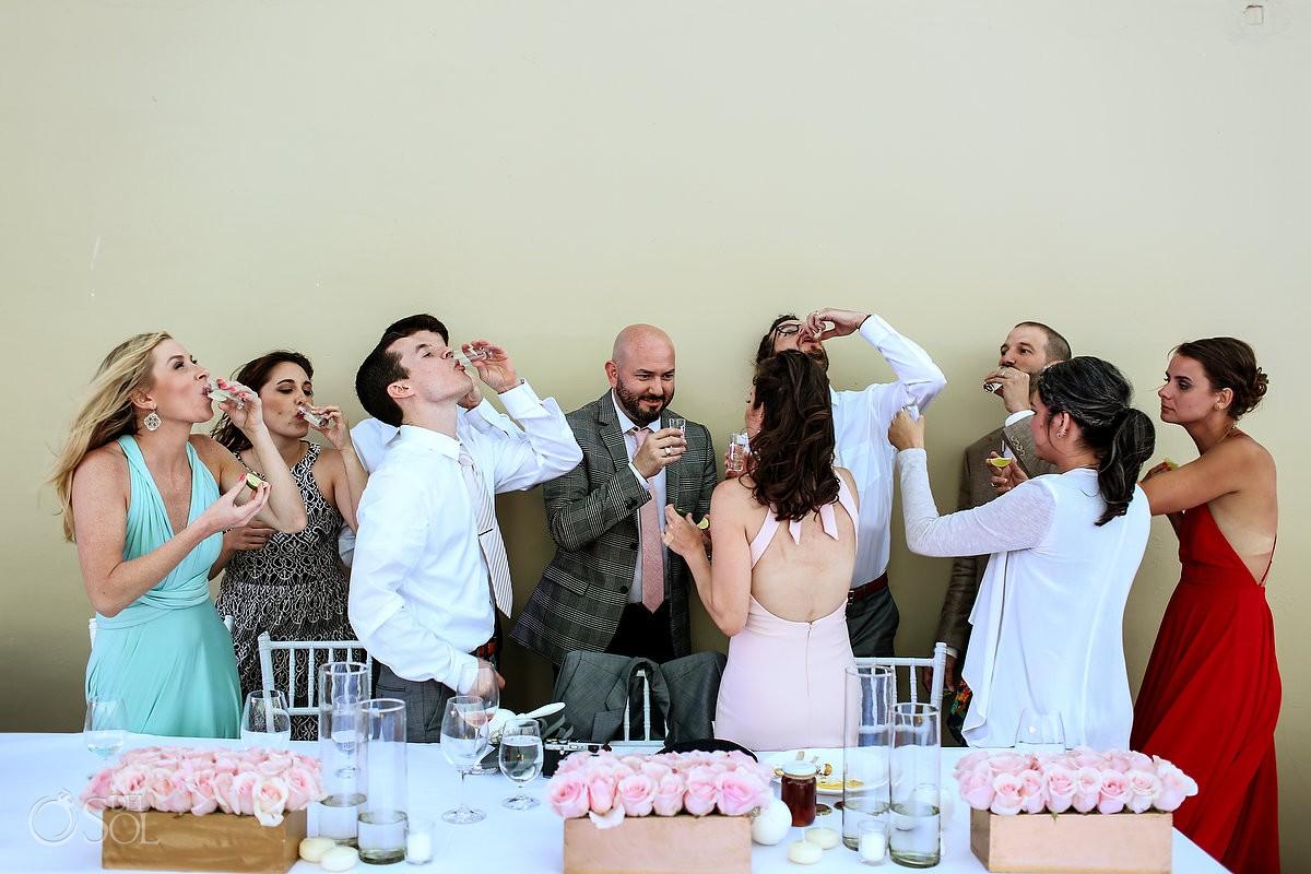 toasts and tequila shots destination wedding reception Grand Hyatt Playa del Carmen Mexico