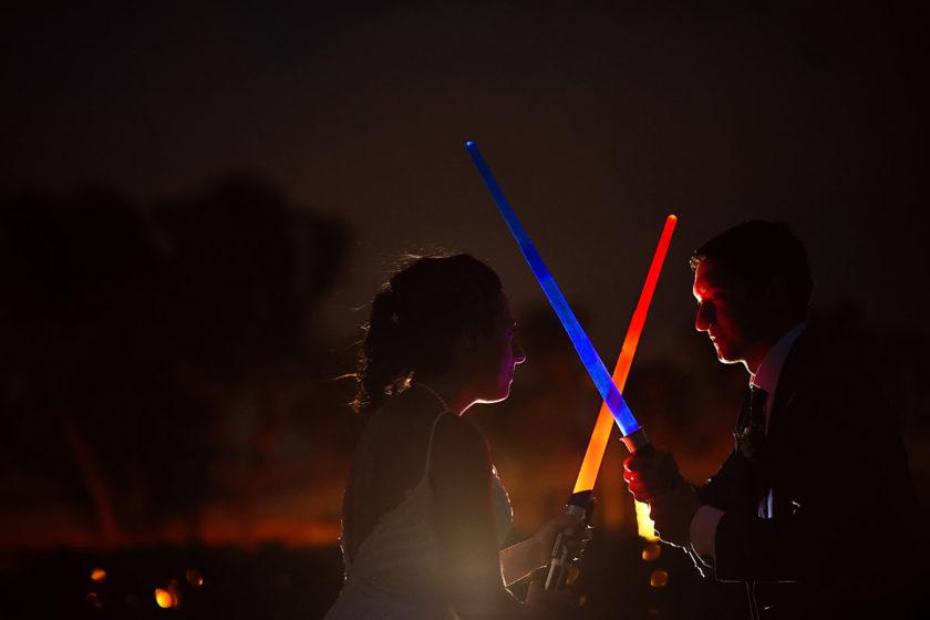 Star Wars Wedding Portrait with lifesabers May the 4th Barceló Maya Palace Riviera Maya Mexico