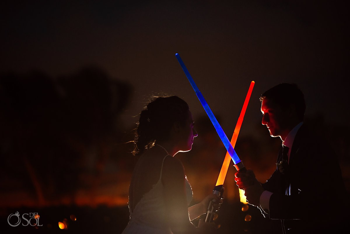 Star Wars Wedding Portrait with lifesabers May the 4th Barceló Maya Palace Riviera Maya Mexico
