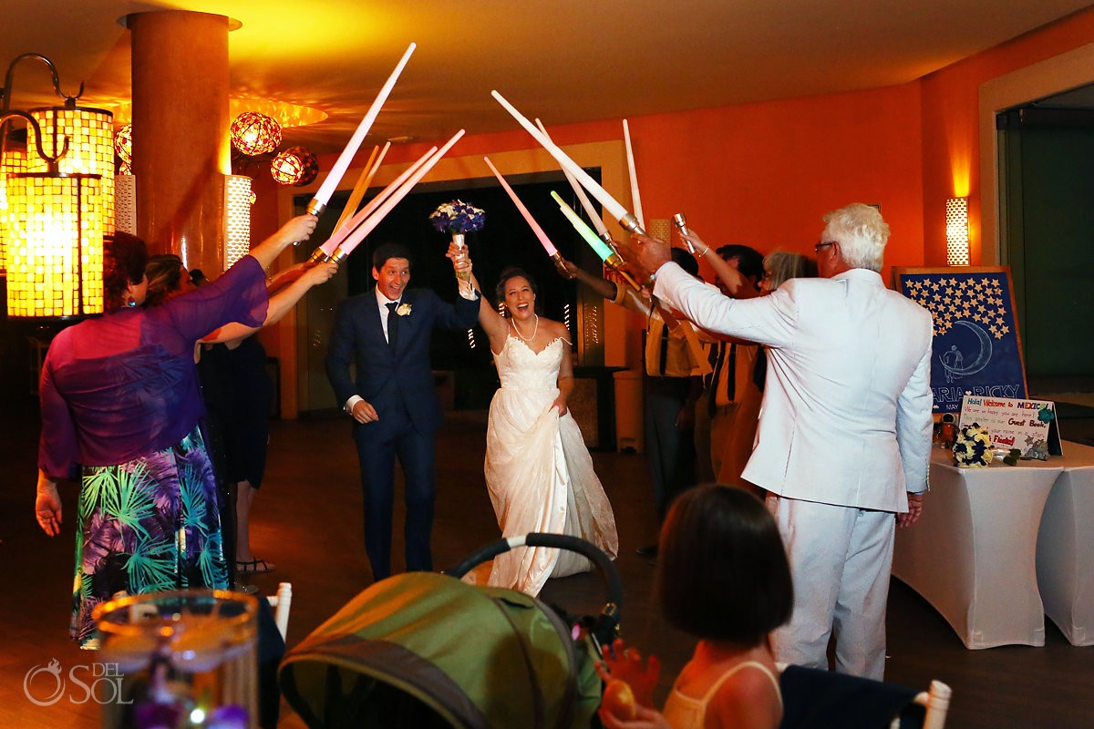 Star Wars Wedding reception entrance lightsaber arch May the 4th Barceló Maya Palace Riviera Maya Mexico
