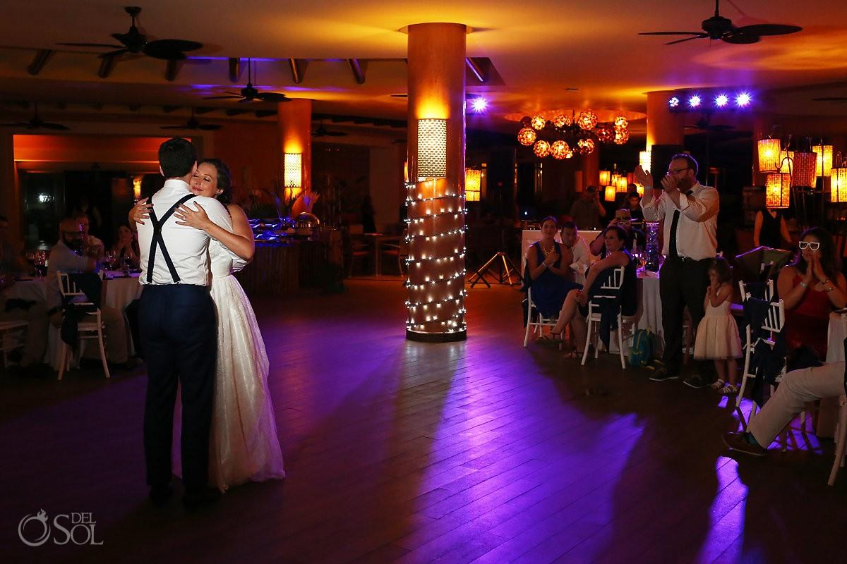 Destination wedding reception first dance Barceló Maya Palace Coral Grill Riviera Maya Mexico