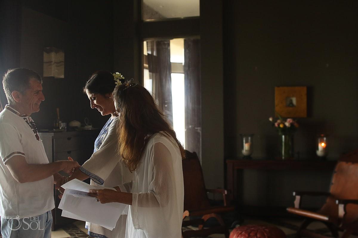 Bride and groom first look before get married Akumal Punta Sur Riviera Maya Mexico