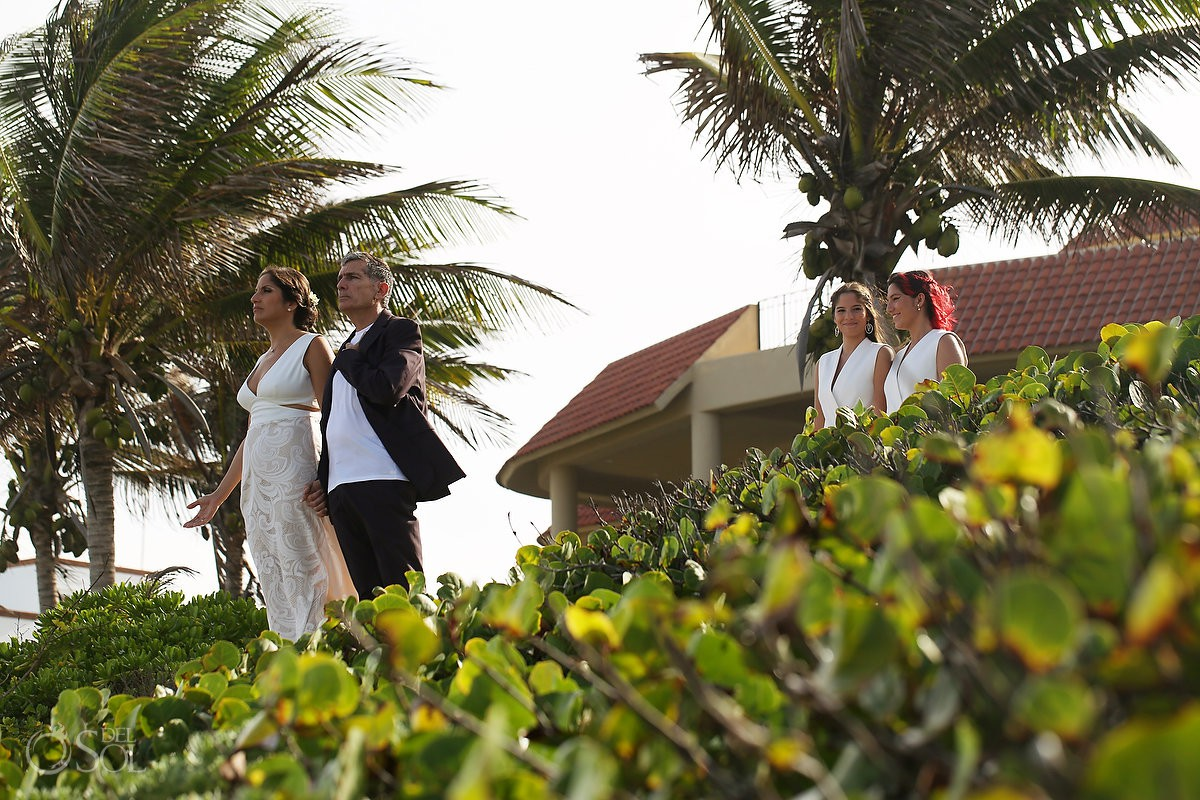 Bride and groom getting married spiritual ceremony Akumal Punta Sur Riviera Maya Mexico