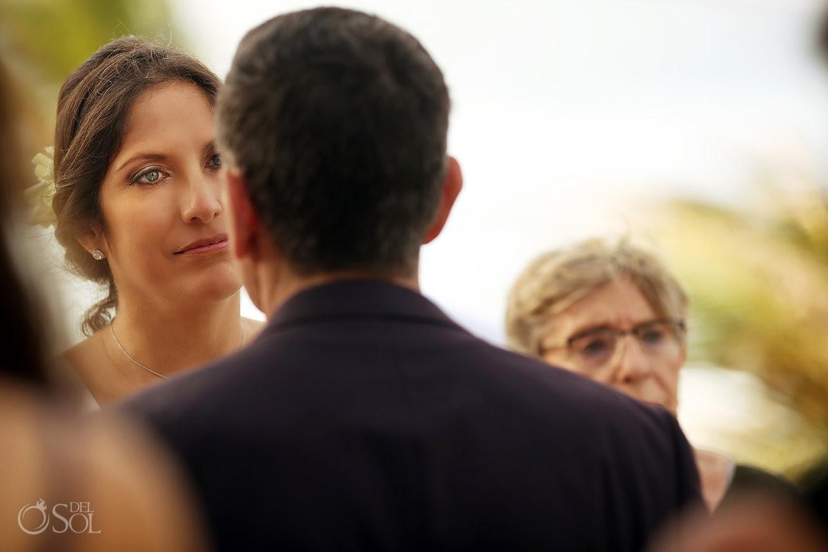 Bride emotional eyes connection wedding ceremony Akumal Punta Sur Riviera Maya Mexico