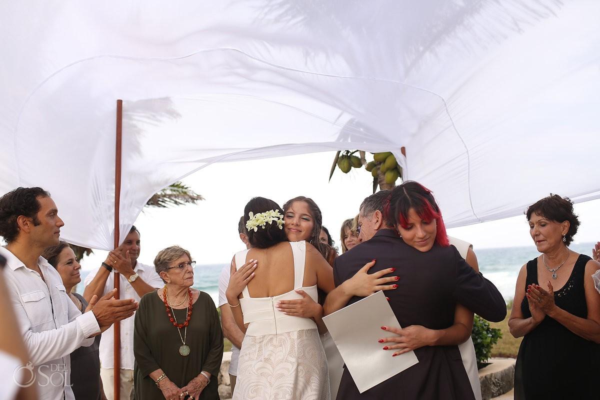 daughter participating wedding ceremony Akumal Punta Sur Riviera Maya Mexico
