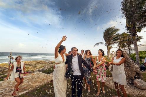 Just married celebration Akumal Punta Sur Riviera Maya Mexico