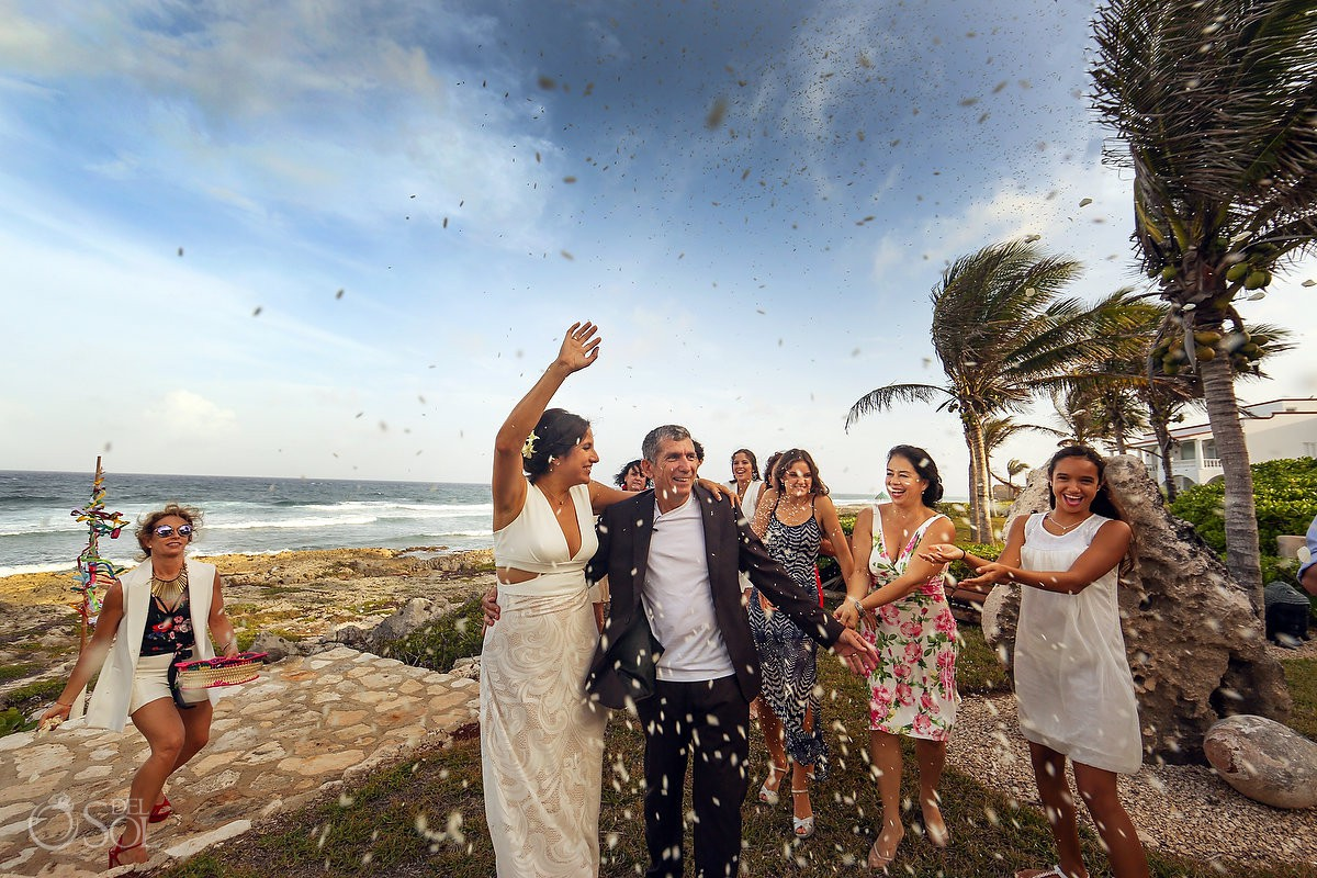 Just married celebration Akumal Punta Sur Riviera Maya Mexico
