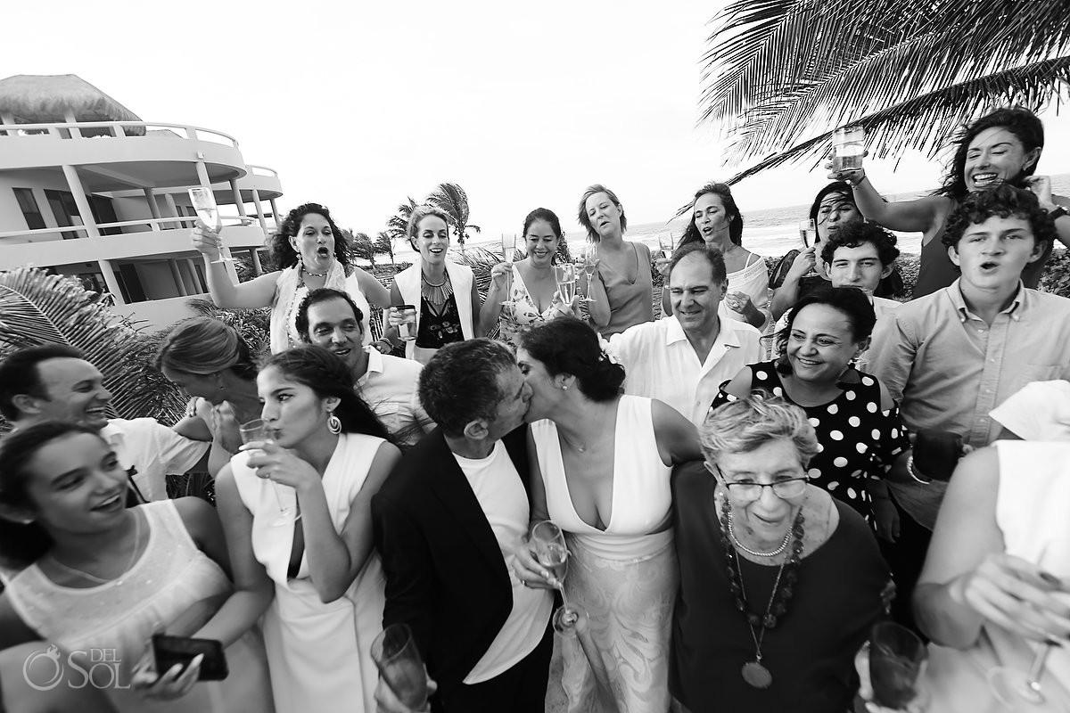 Wedding group picture Akumal Punta Sur Riviera Maya Mexico